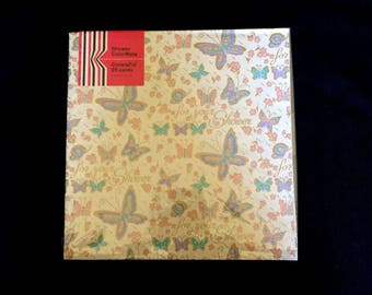 For Your Shower Wrapping Paper - CrinkleTie ColorMate - White Background - Butterflies and Flowers - Gold Accents - Vintage 1960 - 2 Sheets