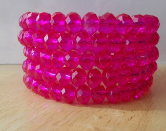 5 Row Memory Wire Cuff  Bracelet with Pink Crystal Beads