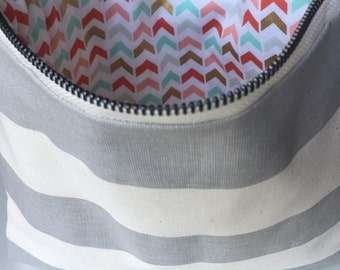 Grey and Ivory Stripe Zipper Pouch