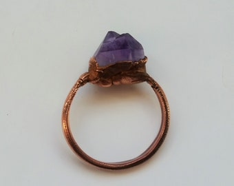 Raw purple amethyst crystal point copper electroformed ring