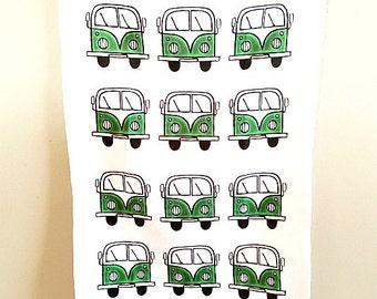 Campervan Tea Towel Green, Combi Tea Towel, Campervan Cloth, VW Tea Towel, Kitchen Accessories, Gifts for Mum