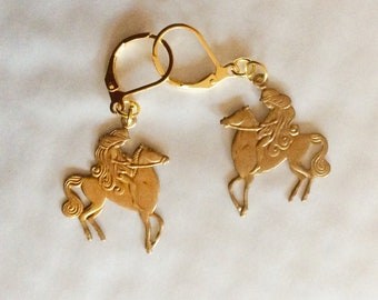 Lady Godiva earrings and horse flowing hair art nouveau raw brass vintage findings for pierced ears