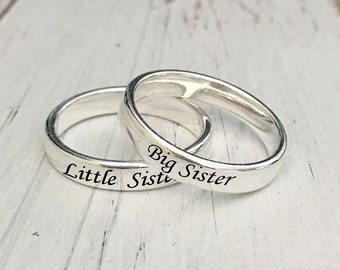4mm Big Sister Little Sister Sterling Silver Ring Set(sold individually)/Customized Sterling Silver ring/engraving inside sold separately
