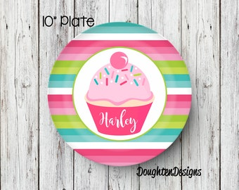 Cupcake Plate Birthday Plate Personalized Melamine Plate Personalized Birthday Plate Girl Plate Cupcake with sprinkles plate birthday  sc 1 st  Etsy & Personalized melamine plates | Etsy