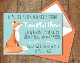 Woodland Baby Shower Invitation Printable, Fox Baby Shower Invite, Gender Neutral Baby Shower Invitation, Woodland Printable Invite