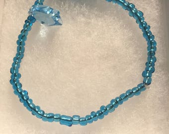 Blue ankle bracelet, stretch ankle bracelet, Swarovski fish charm