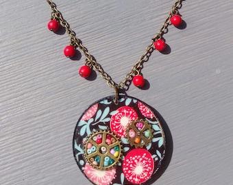 Necklace, pendant Fleurys Hippie Chic Bohemian spirit, turquoise, red, yellow, notes