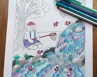 Coloring Pages for Adults, Adult Colouring Book, Bear, Bear Art, Whimsical Art, Waterfall, Printable Wall Art, Childrens Prints