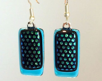 Dangling Dichroic Blue Fused Glass Earrings With Dots