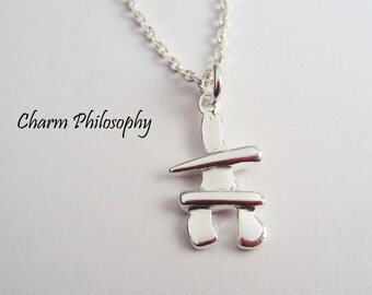 Canadian Inukshuk Necklace - 925 Sterling Silver Jewelry - Small Canada Nunavut Necklace