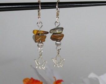 Sterling Silver Lotus Earrings with Tiger Eye Gemstone Chips
