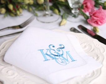 Custom Wedding Napkins - Linen Napkin, Custom Cloth Napkins, Linen Hemstitch Napkins, 2nd Wedding Annivesary, Artwork Napkin
