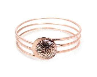 Copper Eclipse Bangle Bracelet - Copper Moon Bangle - Contemporary Bangle Bracelet - Lunar Theme Bangle- Moon Bracelet- Lunar Jewelry Copper