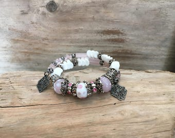 Celtic Pink and White Wrist Wrap