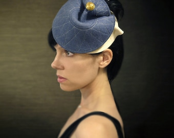 Blue and Cream Felt Hat with Black Feathers - Bantam Hat - Made to Order