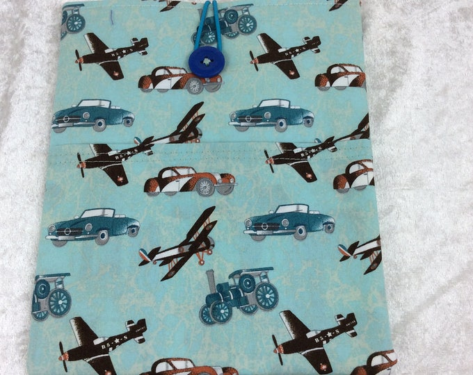 Handmade Tablet Case Cover Pouch iPad/Kindle SMALL Vintage Aircraft Aeroplanes Steam Engines