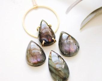 Labradorite Teardrop Hoop Necklace | Labradorite Necklace | Labradorite Jewelry | Stone Necklace | Gemstone Necklace | Circle Necklace