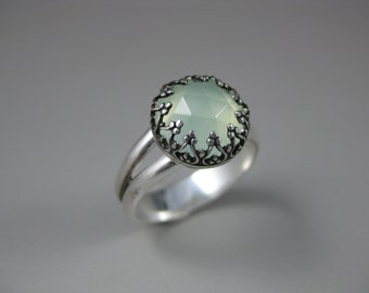 sea green chalcedony sterling silver gemstone ring, chalcedony ring, gemstone ring, green ring, cocktail ring, statement ring