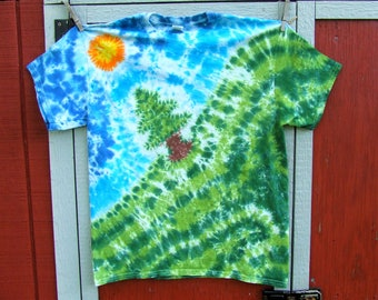 Adult Large Tie Dye T-shirt - Tree on a Hill - Ready to Ship