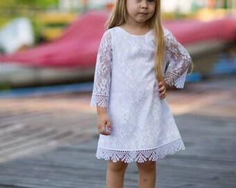 White lace girl dress, Rustic flower girl dress, Boho flower girl dress, Country flower girl dress, Flower girl dress, lace girl dress