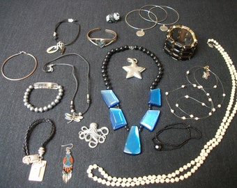 Retro 80s 90s COSPLAY COSTUME BOHO Fun Jewelry Lot, To Wear, Share, Remake, Resell, 19 Things