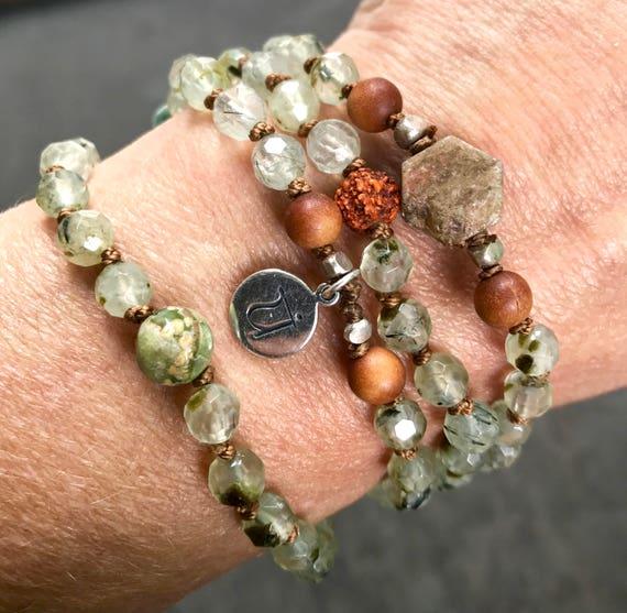 Mala Beads Bracelet - Heart Chakra Mala - Prehnite Necklace  - Sandalwood Mala - Rudraksha Mala - Sapphire Mala Beads - Stress Relief Gift,