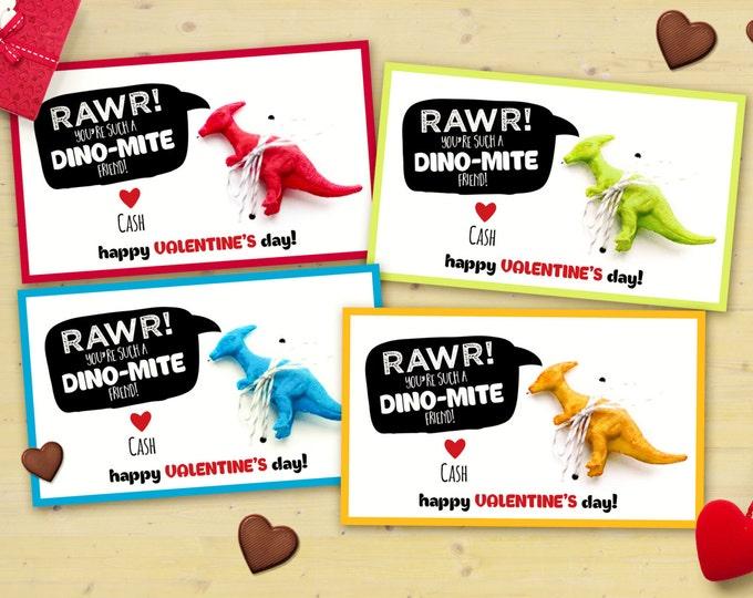 Digital , printable Set of 4 colors, Dinosaur Valentine cards printable - Valentine's Day, children's Valentine's, cards, dino, Valentine,