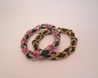 Gold and Black Byzantine Chainmaille Stretch Bracelet
