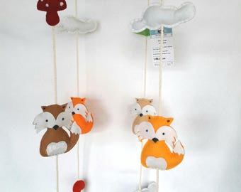 """Fox"" felt and Driftwood mobile"