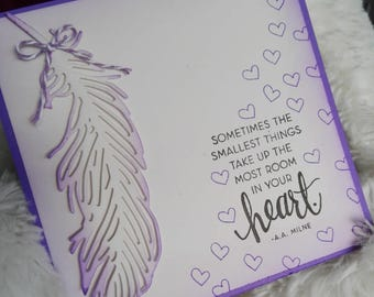 Birth announcement, card, congratulations, baptism, welcome baby personalized feather & hearts + envelope
