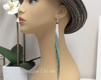 "Extra Long Fringe Beaded Earrings, Tassel Earrings, Tubular Peyote Earrings, ""Seafoam"" Delica Beaded Earrings, Boho Style"