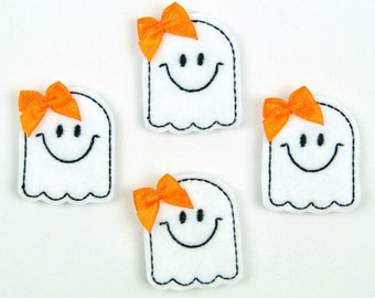 GHOST - Embroidered Felt Embellishments / Appliques - White & Black  (Qnty of 4) SCF3100