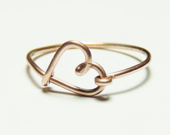 copper wire love  heart ring-  love script ring- Special price   copper wire ring love heart keoops8 shop