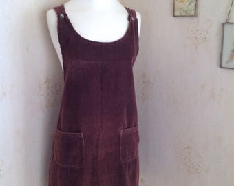 1960's brown chunky cordurouy pinafore dress UK size 14-16