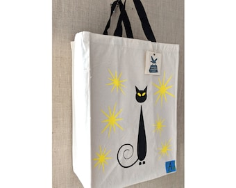 Oops I Smudged it Again, Black Cat, Canvas Bag, Reusable Grocery Bag, Siamese Cat, Eco Friendly Bag, Reusable Bag, Shopping Bag