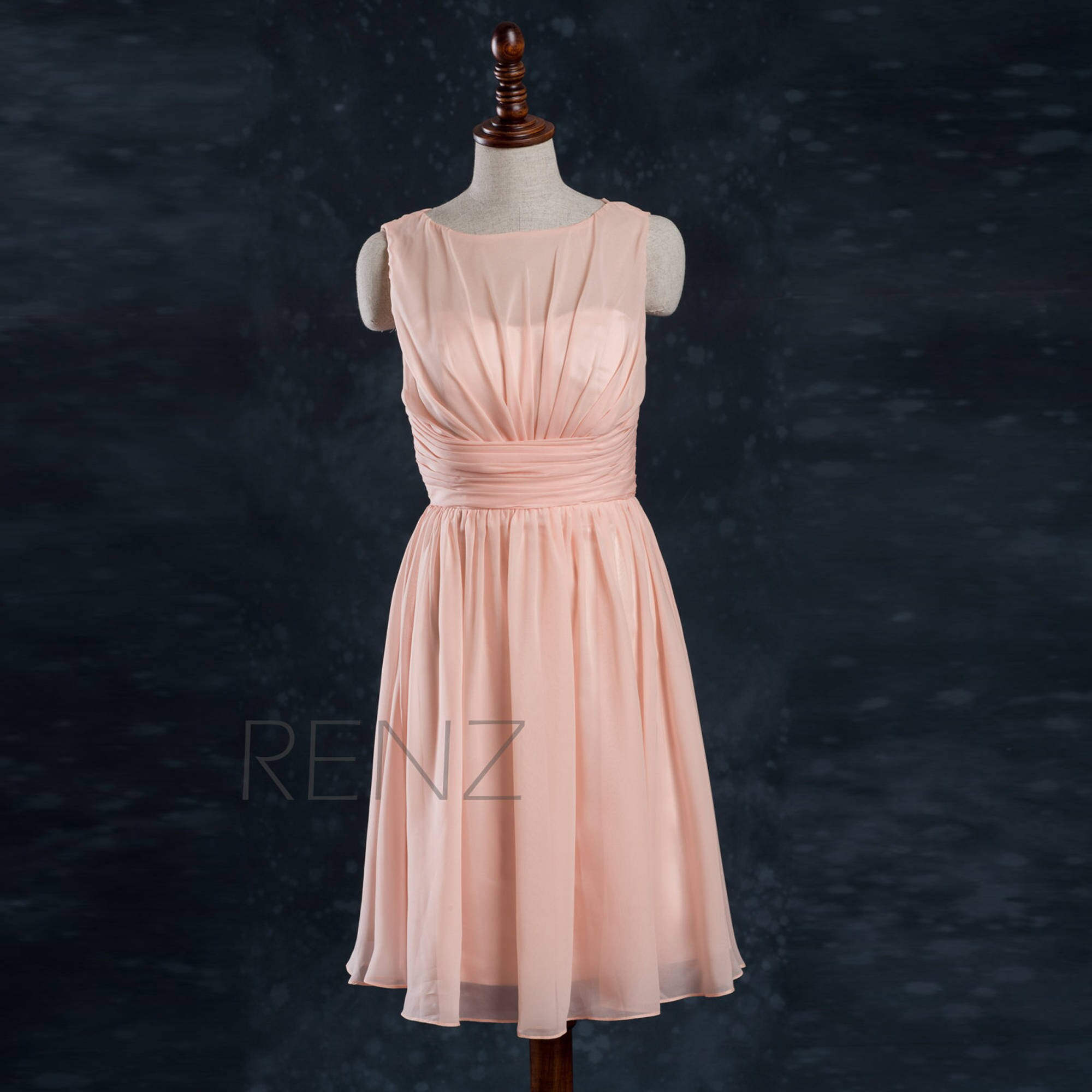 Bright Peach Bridesmaid Dress Short Wedding Dress A line