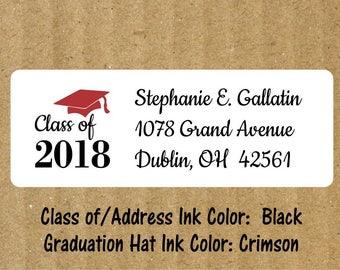 Graduation Address Labels, 90 Labels, Graduation Return Address Labels, Graduation, Graduation Return Labels, Graduation Hat