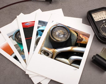 "Photo Note Card Set - 5""x7"" - Vintage Cars I. Urban photography, rusty details, automobile, greeting card."