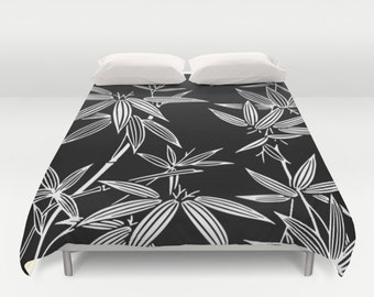 Bamboo Duvet Cover, Full Queen King, Black & White Bedroom, Kimono Bed Cover, Tropical Bedding, Bamboo Leaf Pattern, Black White Comforter