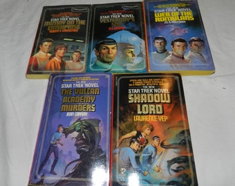Lot of 5 Vintage Star Trek Novels / Paperbacks / Books from the 1980's - Star Trek TOS / The Original Series - Science Fiction / Sci Fi 21-6