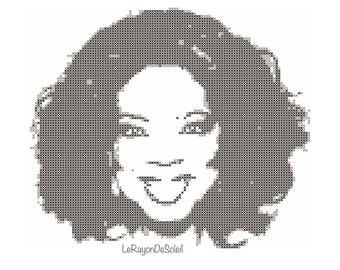 Oprah cross stitch pattern, Oprah Winfrey pattern modern cross stitch, PDF instant download.