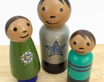 3 Peg Doll Kids - Peg Siblings - 2 Inch Peg Dolls - Latino Peg Dolls - Wooden Peg Dolls - Set of Peg Dolls - Ready to Ship