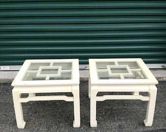 Vintage Pair Ming Style Fretwork Side tables | Chinoiserie Chic
