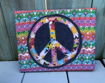 boho hippie frayed fabric collage  whimsical Wall Hanging peace sign