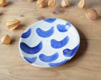 Dessert Plate / Side Plate / Starter Plate / Small Stoneware Plate with abstract Slip Decoration & Handmade Side Plate Small Plates Desert Plate Starter