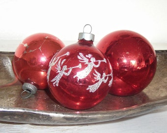 red Christmas ornaments - vintage glass balls one with white and gold glitter angels - shabby cottage chic - ornate hollywood regency