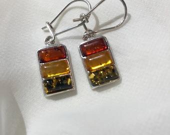 Genuine Baltic Amber Earrings - Cognac/Lemon/Green Tri-Color - Handmade - Gift Jewelry