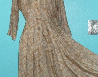 Lovely 60s Vintage Earth Tones Paisley Nylon/Acetate Day Dress — Ladies size L