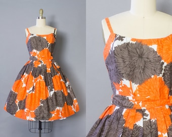 1950s Floral Cotton Sundress/ Small (34B/26W)
