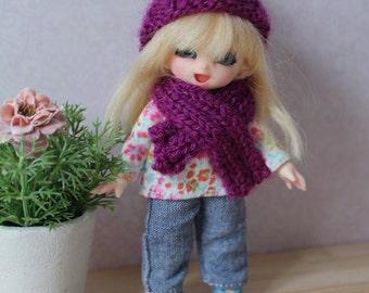 Violet Pompom Set for PukiPuki - Hat and Scarf